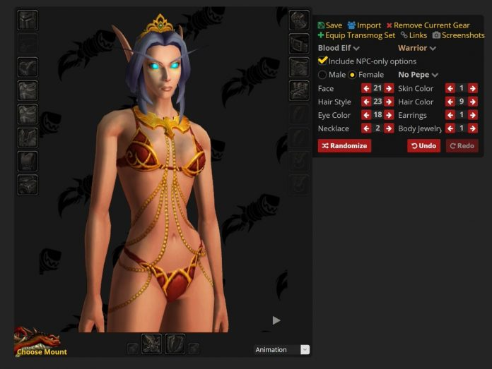 Shadowlands Dressing Room Character Customization Build 34490 - Blood Elves, Undead Decay