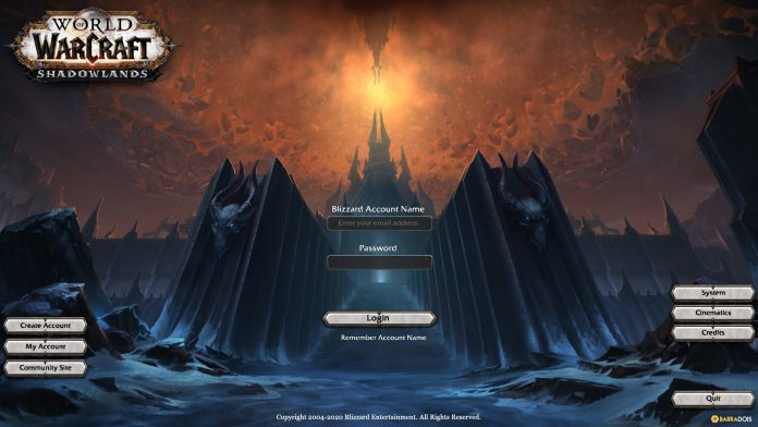 Fan-Made Shadowlands Login Screen with Shadowlands-Colored Assets by BarraDois