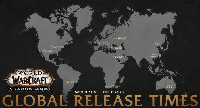 Shadowlands Release Date and Times on November 23rd / 24th - Global Release