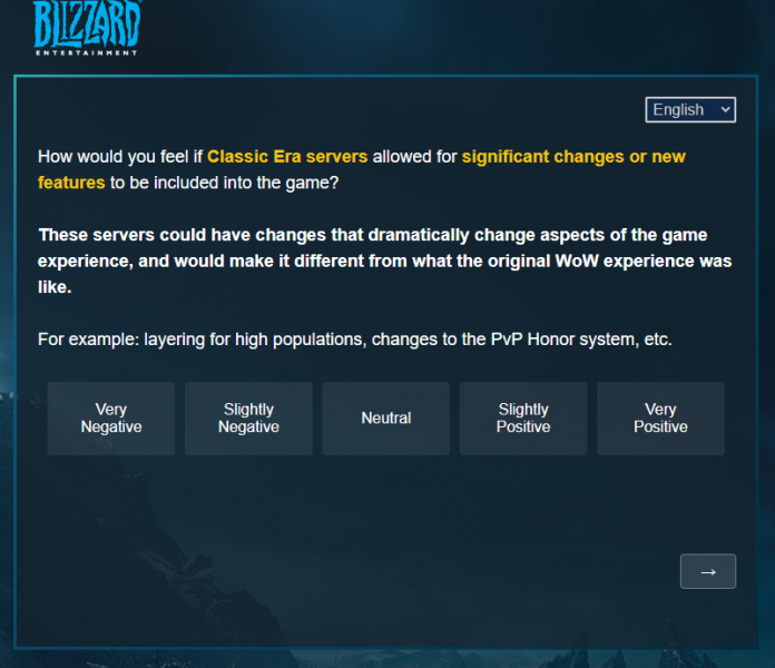 WoW Classic Survey - Significant Changes or New Features on Classic Era Servers